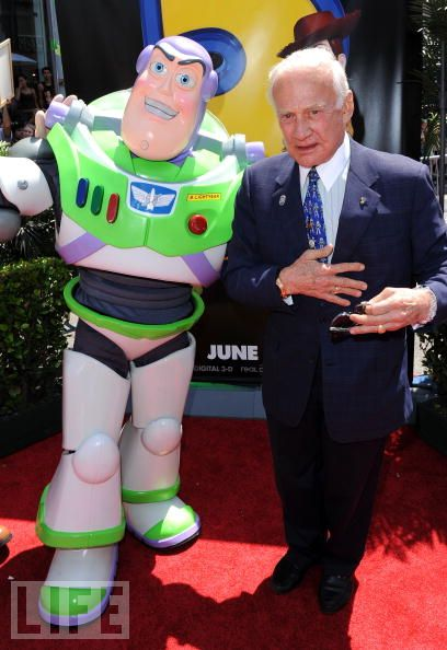 Buzz Lightyear & Buzz Aldrin share the spotlight