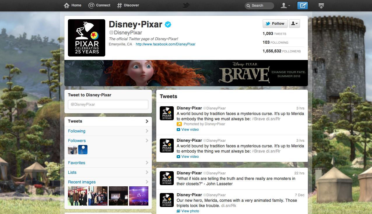 Pixar Twitter Page