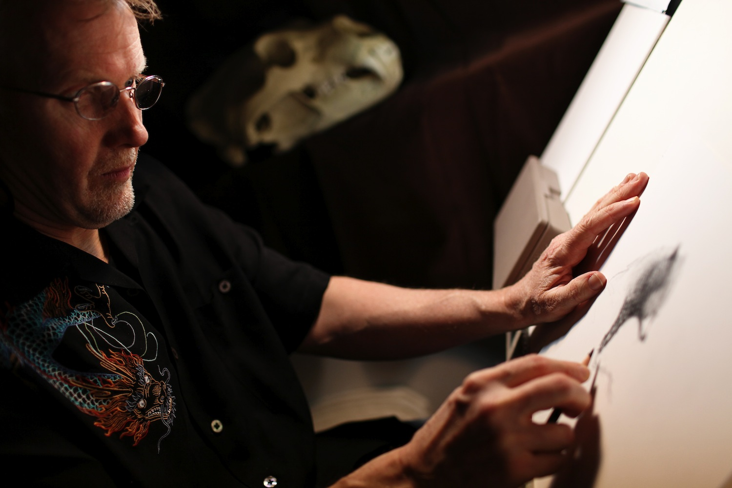 Steve Pilcher working in his office. (Photo by Deborah Coleman/Pixar)