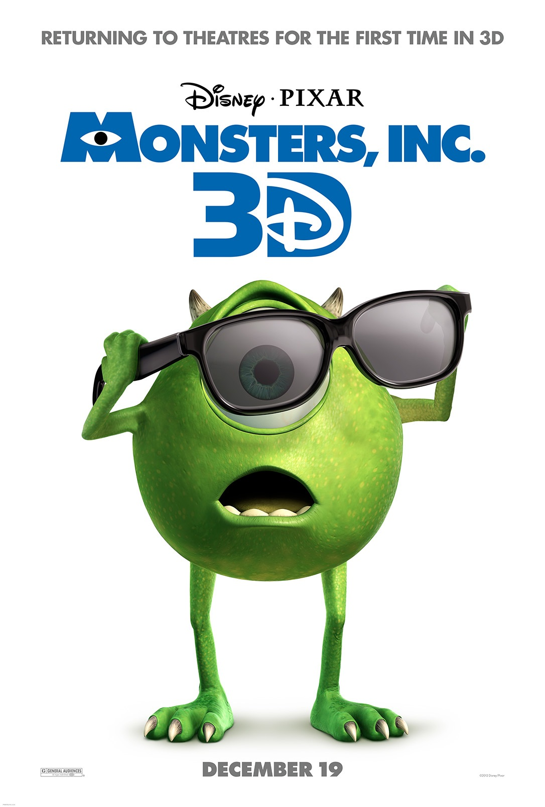 Monsters Inc 3D Theatrical Poster