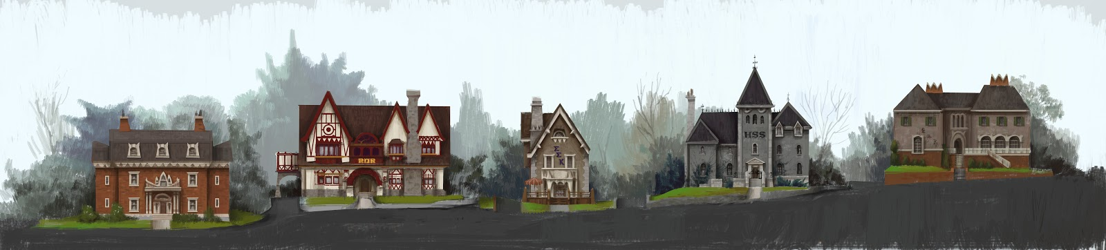 Monsters University Concept Art - Frat Houses
