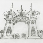 Monsters University Concept Art - Gate Sketch