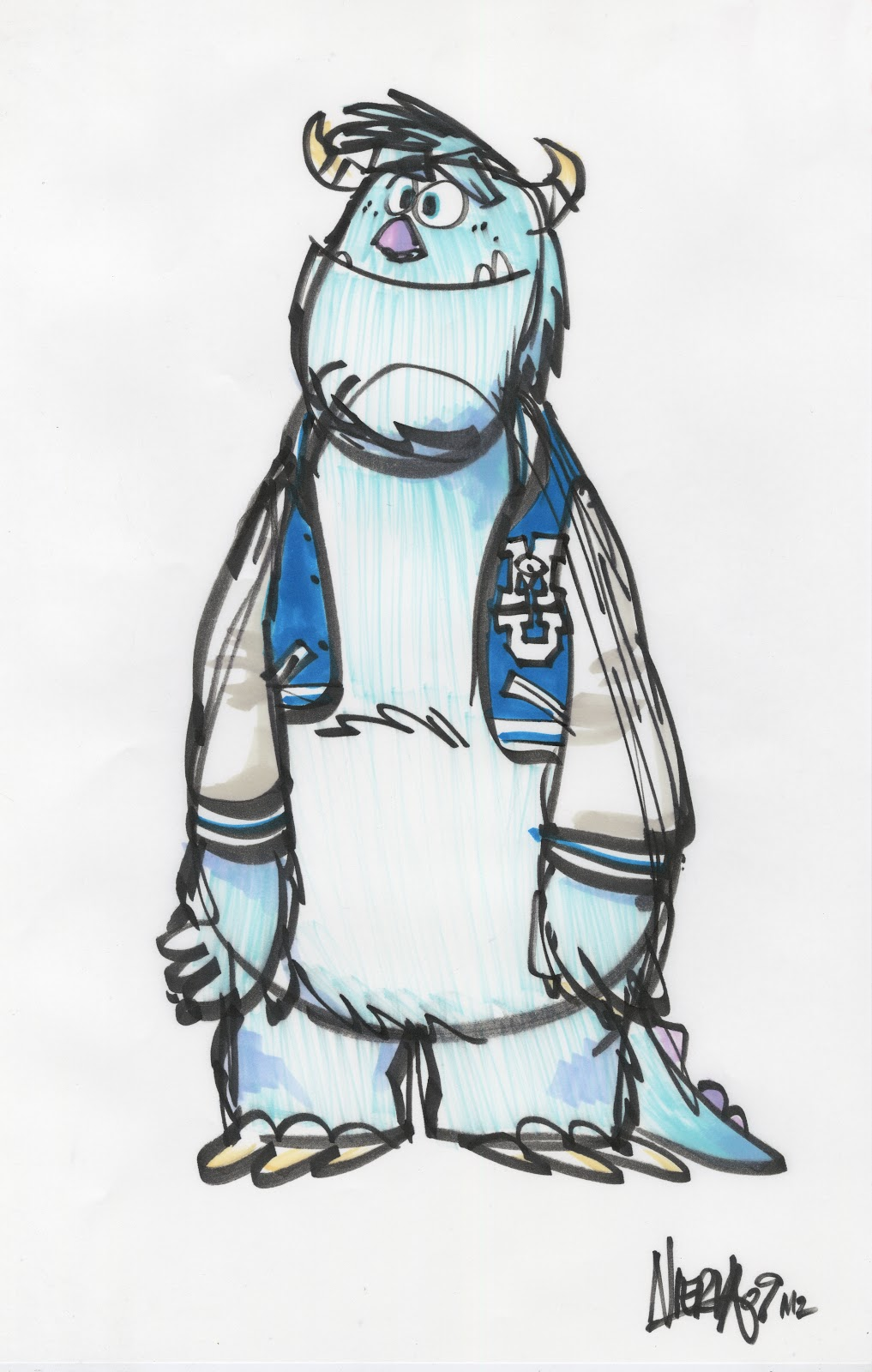 Monsters University Concept Art - Sulley Sketch