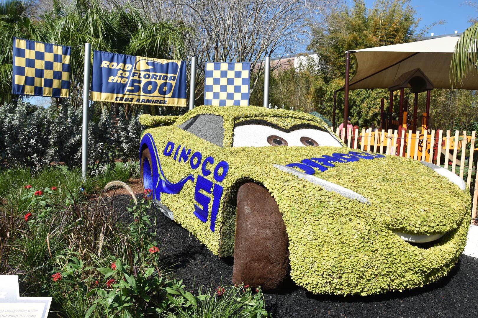 Cars 3 - Cruz Ramirez Epcot Topiary