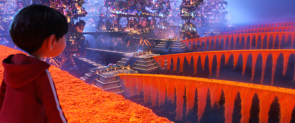 "THE LAND OF THE DEAD – In Disney•Pixar's ""Coco,"" aspiring musician Miguel (voice of Anthony Gonzalez) finds himself in the Land of the Dead—a rich and vibrant community featuring bridges of marigold petals. Directed by Lee Unkrich, co-directed by Adrian Molina and produced by Darla K. Anderson, Disney•Pixar's ""Coco"" opens in U.S. theaters on Nov. 22, 2017. ©2017 Disney•Pixar. All Rights Reserved."