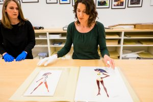 Exhibitions archivist Melissa Woods and Archives Manager Juliet Roth at Incredibles 2 Long Lead Press day, as seen on April 5, 2018 at Pixar Animation Studios in Emeryville, Calif. (Photo by Marc Flores)