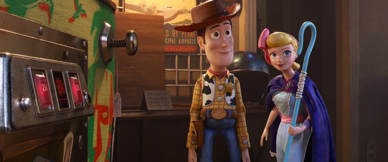 "CLOSE QUARTERS – In Disney and Pixar's ""Toy Story 4,"" Bo Peep takes Woody to a secret hangout within the antique store—the inside of a vintage pinball machine—where a lot of toys go to socialize."