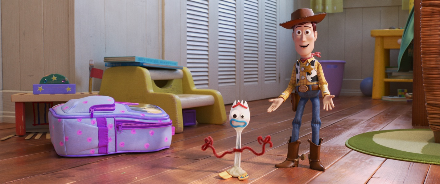 "NEW FRIEND! – In Disney and Pixar's ""Toy Story 4,"" Bonnie makes a new friend in kindergarten orientation—literally. When Forky—Bonnie's craft-project-turned-toy—declares himself trash and not a toy, Woody takes it upon himself to show Forky why he should embrace being a toy."